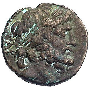 CYLICJA- Elaiussa, AE-20 120-80 pne, Aw: Głowa Zeusa w ...