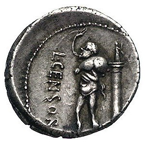 L. Censorinus 82 pne, denar, Aw: Głowa Apollina w prawo...