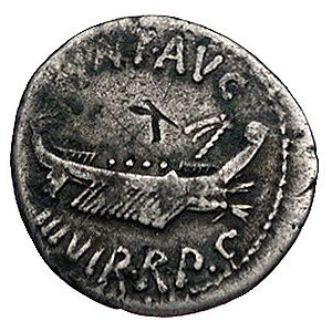 Marek Antoniusz 32-30 pne, denar legionowy, Aw: Galera ...