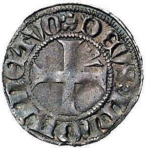Strzałów, przed 1381 r., wit, Aw: Strzała i napis w oto...