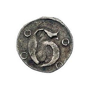 Głogów 1400 r., halerz, Aw: Duża litera G i 4 kulki wok...