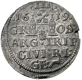 trojak 1619, Ryga, odmiana z dużą głową króla, Kurp. 25...