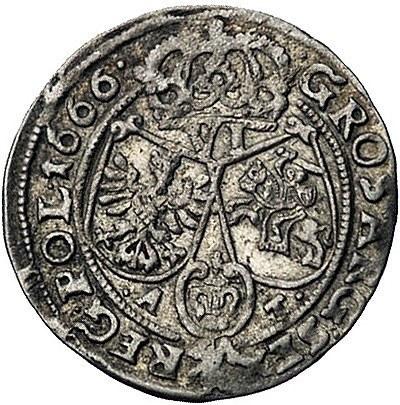 szóstak 1666, Kraków, Kurp. 249, ale odmiana napisu na ...