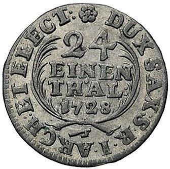 1/24 talara 1728, Drezno, Kam. 200, Merseb. 1623