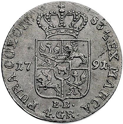 złotówka 1791, Warszawa, Plage 299, lekko justowana
