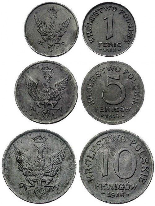 zestaw monet- 1, 5 i 10 fenigów 1918, Stuttgart, Parchi...