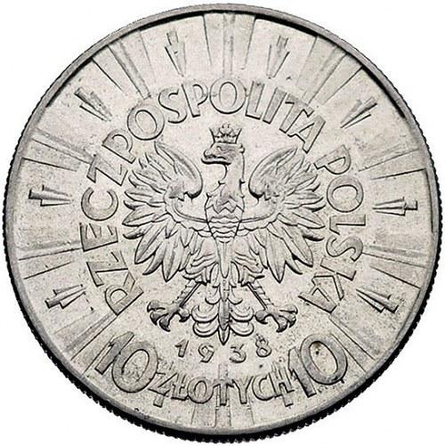 10 złotych 1938, Warszawa, Piłsudski, Parchimowicz 124....