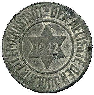 10 fenigów 1942, Łódź, Parchimowicz 13, średnica 18.5 m...