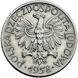 5 złotych 1958, Warszawa, odmiana z wąską cyfrą 8, Parc...
