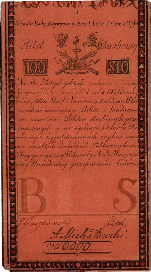 100 złotych 8.06.1794, seria A nr 6000, Miłczak A5, Pic...