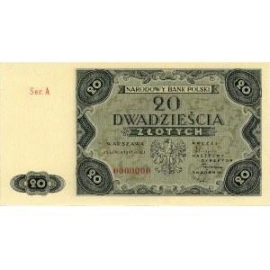 20 złotych 15.07.1947, seria A 0000000, Miłczak 130, Pi...