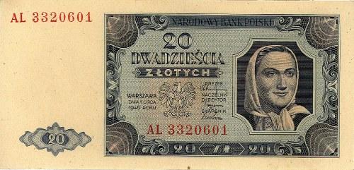 20 złotych 1.07.1948, seria AL, Miłczak 137b, Pick 137
