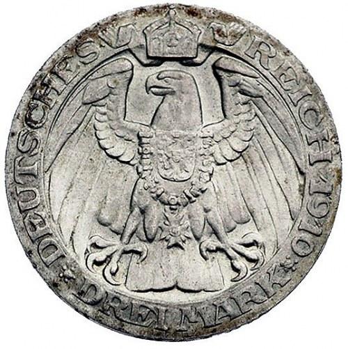 3 marki 1910 A, Berlin, J. 107, wybite na 100-lecie Uni...