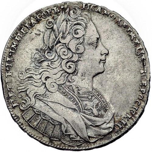 rubel 1727, Moskwa, Aw: Popiersie, napis wokoło, Rw: Mo...