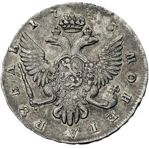 rubel 1745, Petersburg, Aw: Popiersie, napis wokoło, Rw...