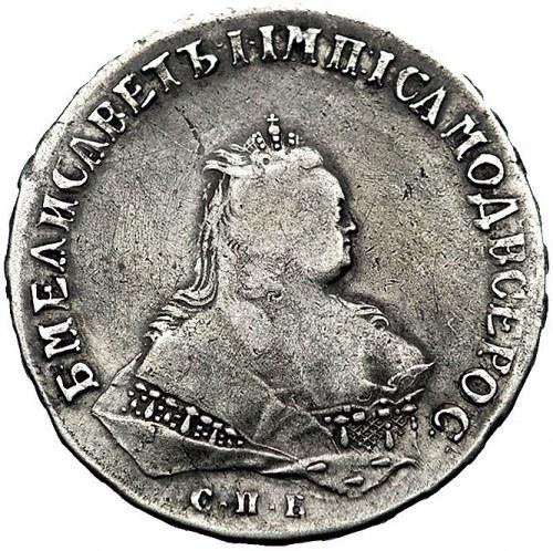 rubel 1746, Petersburg, Aw: Popiersie, napis wokoło, Rw...