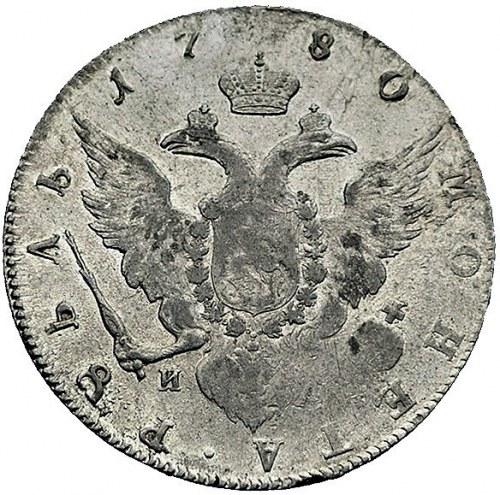 rubel 1780, Petersburg, Aw: Popiersie, napis wokoło, Rw...