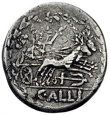 C. Allius Bala około 92 pne, denar, Aw: Głowa Diany w p...