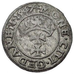 szeląg 1547, Gdańsk, odmiana napisu POLON i listek, Kur...