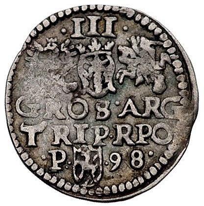 trojak 1598, Poznań, rzadszy typ z literą P z lewej str...