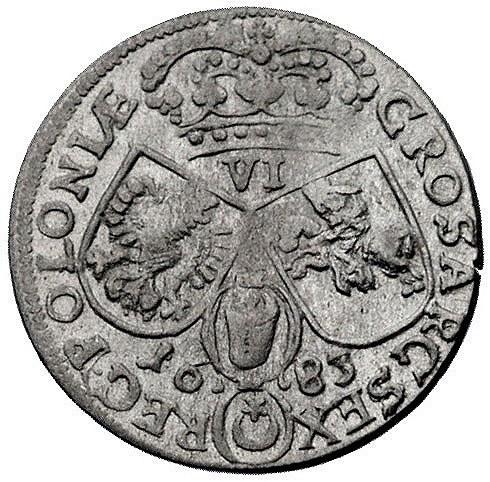 szóstak 1683, Kraków, odmiana z literą C pomiędzy tarcz...