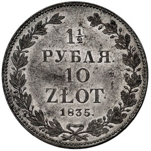 1 1/2 rubla = 10 złotych 1835, Petersburg, 2 żołędzie p...