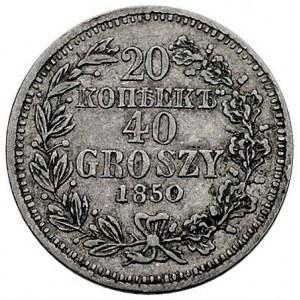 20 kopiejek = 40 groszy 1850, Warszawa, Plage 396