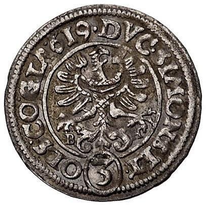 3 krajcary 1619, Ziębice, litery B-H po bokach Orła, F....
