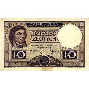 10 złotych 28.02.1919, S.19.A. 011892, Miłczak 50b, Pic...