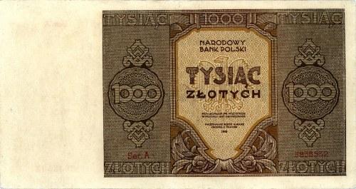 1000 złotych 1945, seria A, Miłczak 120a, Pick 120