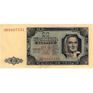 20 złotych 1.07.1948, seria AH, Miłczak 137b, Pick 137