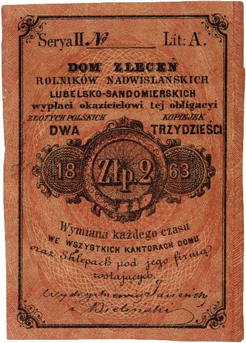 Lublin - 2 złote = 30 kopiejek 1863, Dom Zleceń Rolnikó...