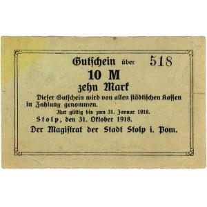 Słupsk, 10 marek 31.10.1918, bez stempla i podpisów, Ge...