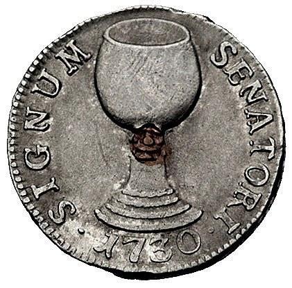 Kolonia- żeton senatora miejskiego- 1730 r., Aw: Herb m...