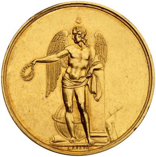 medal nagrodowy autorstwa Lialina, Aw: Stojący geniusz ...