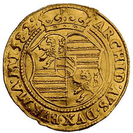 dukat 1582, Budziejowice, Aw: Postać cesarza i napis wo...
