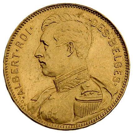 Albert 1909-1914, 20 franków 1914, Bruksela, Fr. 421, z...