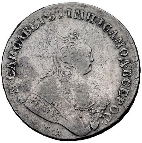 rubel 1749, Moskwa, Aw: Popiersie i napis wokoło, Rw: D...