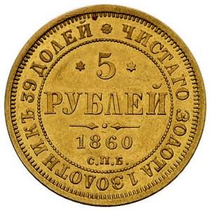 5 rubli 1860, Petersburg, Bitkin 6, Fr. 146, złoto, 6.5...