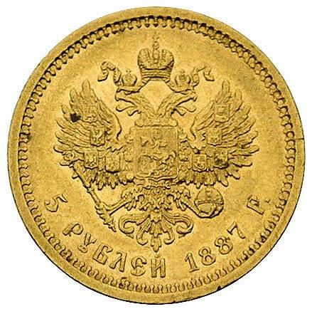 5 rubli 1887, Petersburg, Bitkin 26, Fr. 151, złoto, 6....