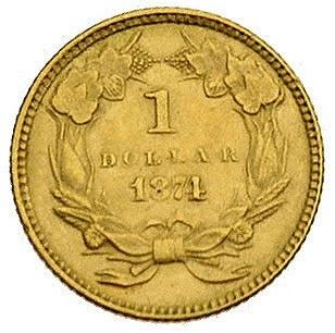 1 dolar 1874, Filadelfia, Fr. 94, złoto, 1.67 g, ładny ...
