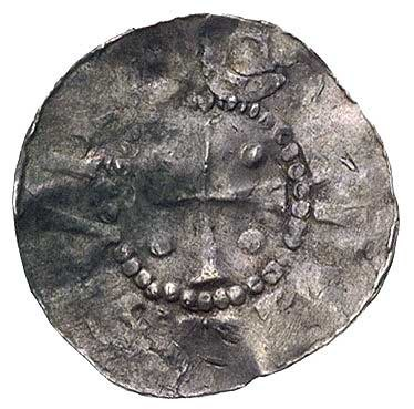 książę Bernhard II 1011-1059, denar, Aw: Ręka Opatrznoś...