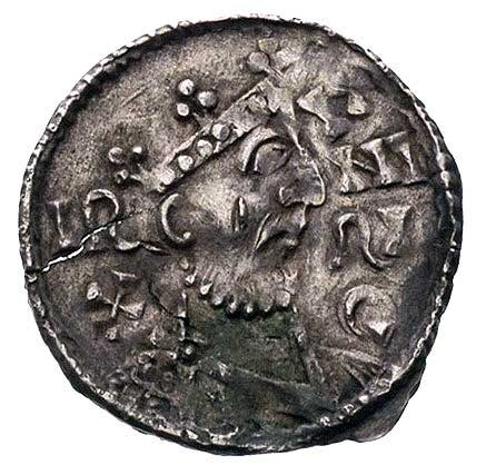 król Henryk II 1009-1024, denar, Aw: Popiersie w prawo ...