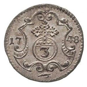 3 halerze 1748, Drezno, Merseb. 1764, bardzo ładny egze...