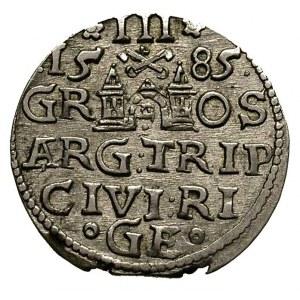 trojak 1585, Ryga, małe popiersie króla, Gerbaszewski 4...