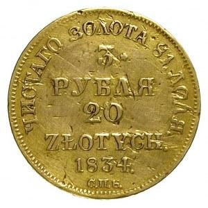3 ruble = 20 złotych 1834, Petersburg, Plage 299, Bitki...