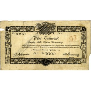 5 talarów 1.12.1810, podpis komisarza: Ostrowski, Miłcz...