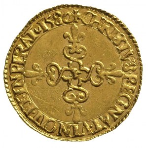 ecu d'or 1580, La Rochelle, złoto 3.36 g, Duplessy 1123...
