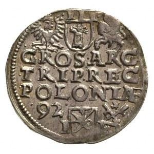 trojak 1592, Poznań, duża głowa króla, na rewersie napi...