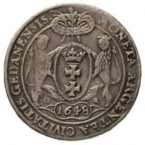 talar 1648, Gdańsk, 28.14 g, Dav. 4356, T. 10, ślad po ...
